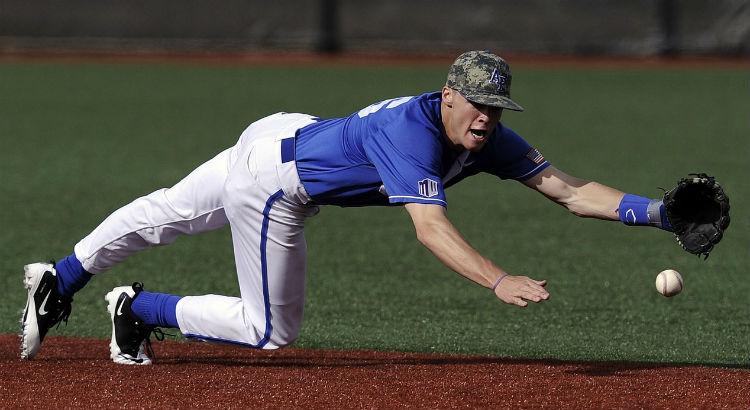 Baseball player fielding