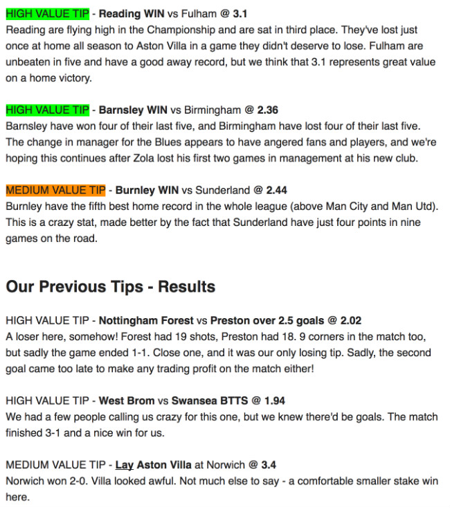 Results from our betting tips
