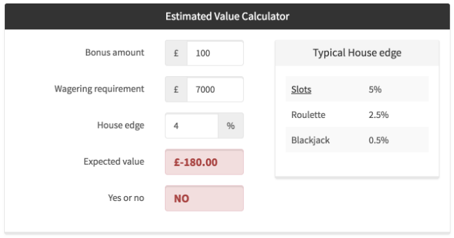 Casino Calculator for Bonuses