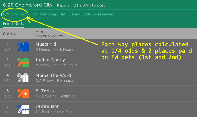 Each Way odds shown on bookmaker