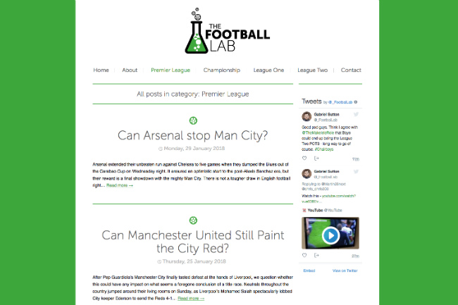 Best sports blog: The football lab
