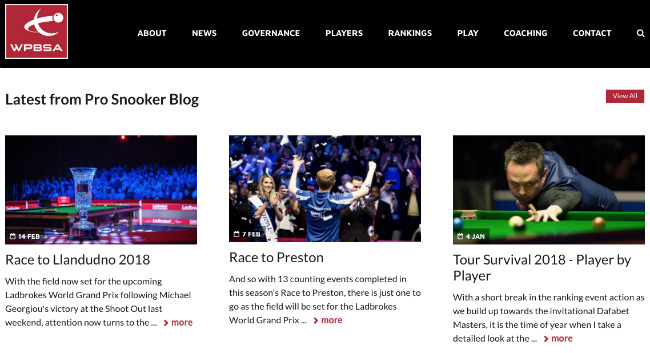 Best Sport Blogs: WPBSA Snooker Blog