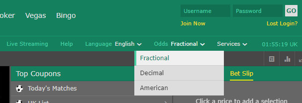 odds-type toggle for Bet365