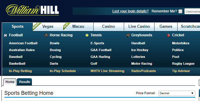 Odds-type toggle for William Hill